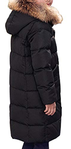 Thick Down Hooded Duck Overcoat Trim Boy Fur D Parka Mid Style Padded with Jacket Puffer SellerFun Long Winter Black wFfEqEB8