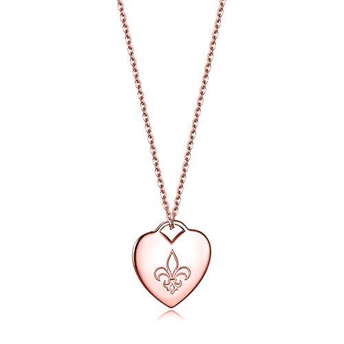 Lis De Fleur Bracelet Heart - Essie Odila 18K White Gold Plated Sterling Silver Heart Pendant Necklace 18