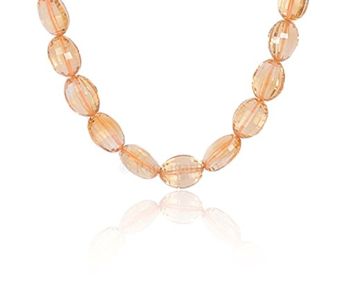 - Natural Citrine Straight drilled Checkerboard Faceted Oval Shape (mani) Beads Necklace, Golden Yellow Color, Jewelry Making, Prepared Exclusively by Ratnagarbha.