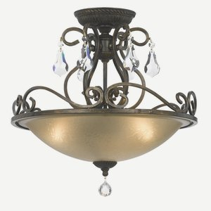Crystorama 5010-EB-CL-MWP Crystal Accents Three Light Ceiling Mount from Ashton collection in Bronze/Darkfinish, (Ashton Light Fixture)