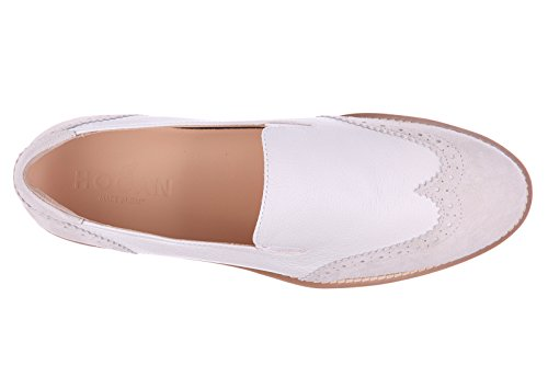 Hogan slip on donna in pelle sneakers nuove originali h259 route bianco