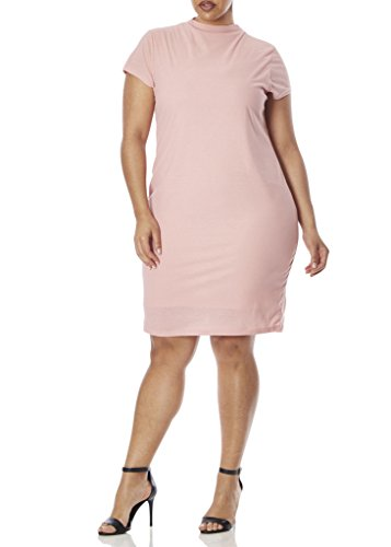 77839Xr Rse 1X  Love Collection Stretch Crepe Dress   Plus Size  High Neck With Peep Hole Back