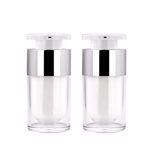 Airless Pump Bottle, Yebeauty 15ml 2 Pack Small Pump Botte Empty Bottles Cosmetic Lotion Pump Container Travel Containers