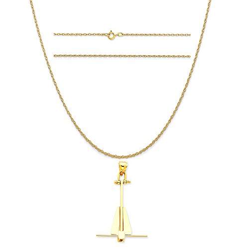(K&C 14k Yellow Gold Moveable Danforth Anchor Pendant on 14K Yellow Gold Carded Rope Chain Necklace, 20