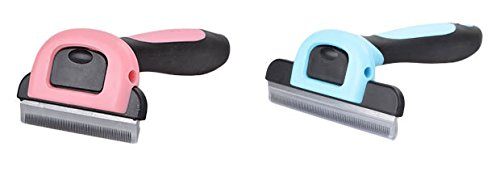 I-Fashion Pet Deshedding Tool,Dog Combs,Pet Grooming Brush For Dogs And Cats With Stainless Steel Safety Blade, Dramatically Reduce Shedding by up to 90% For Small, Medium And Large Pets (L, Pink)