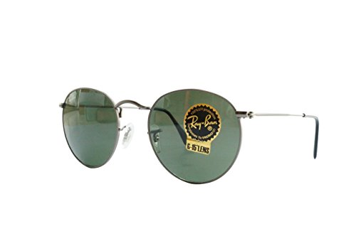 Ray-Ban RB3447 029 ROUND METAL - MATTE GUNMETAL Frame CRYSTAL GREEN Lenses 50mm Non-Polarized by Ray-Ban