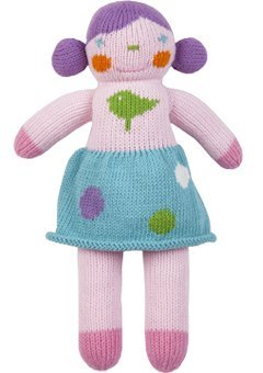 Blabla Violet The Girl Mini Plush Doll - Knit Stuffed Animal for Kids. Cute, Cuddly & Soft Cotton Toy. Perfect, Forever Cherished. Eco-Friendly. Certified Safe & Non-Toxic.