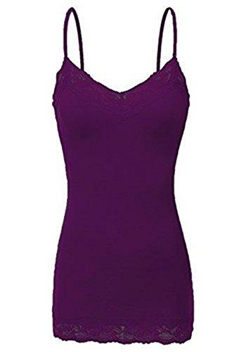 Bozzolo Women's Junior $ Plus Adjustable Spaghetti Strap Lace Trim Tunic Tank Top (Underwear Cami)