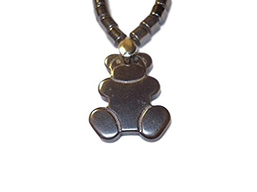 """16"""" Natural Hematite Drum Beads & Teddy Bear Crystal Healing Gemstone Pendant Necklace with Screw Clasp (Agate Teddy Bear)"""