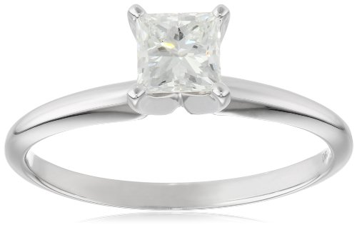 GIA Certified Classic 4 Prong 1/2carat 14k Rhodium Plated White Gold Engagement Ring, Size - Tiffany And Popular Most Co
