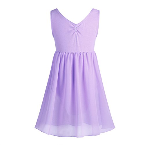 - iiniim Kids Girls Empire Waist Tank Leotard Lyrical Dance Dress Ballet Chiffon Skirt Ballerina Costumes Lavender 5-6