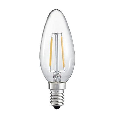 Paquete de 10 bombillas de filamento LED E14 de 2 W de 210 lúmenes, vela