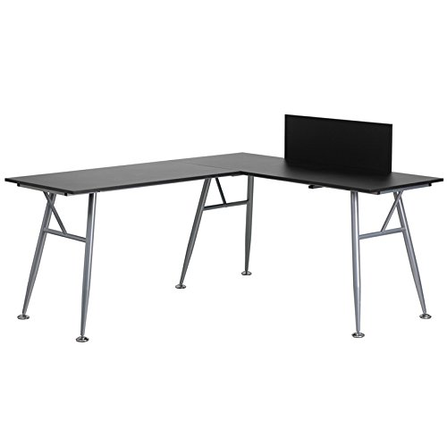 Amazon.com: Black Laminate L-Shape Computer Desk with Silver Frame ...