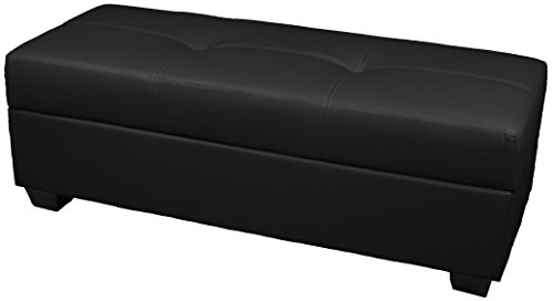 Leather Look Upholstered Tufted Padded Hinged Storage Ottoman Bench, 48 by 19 by 18