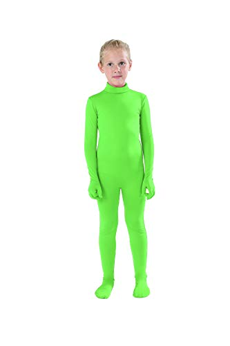 Full Bodysuit Kids Dancewear Solid Color Lycra Spandex Zentai Child Unitard (Medium, Lime -