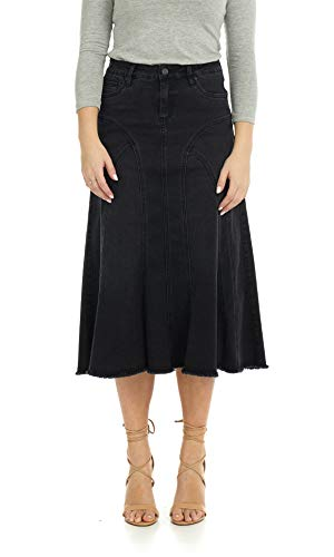 Esteez Women's Denim Midi Skirt- A-Line Flared - Stretch Jean Aspen Black 16