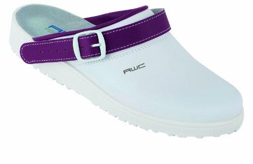 Unbekannt Sandale weiß/mint, Ristpolster - Zuecos para mujer blanco - weiß lila