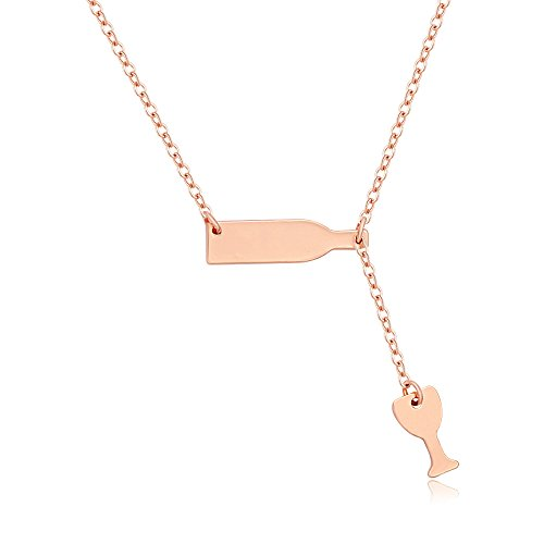 MANZHEN Personalized Gold Silver Love Wine Cup Pendant Necklace Jewelry for Women (Rose gold)