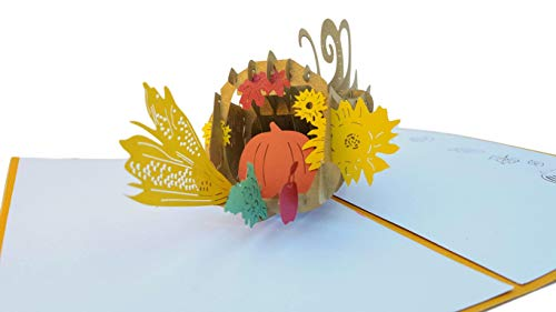 iGifts And Cards Unique Horn of Plenty Happy Thanksgiving 3D Pop Up Greeting Card - Pumpkin, Basket, Decoration, Centerpiece, Half-Fold, Holiday Gift, Inspirational, Autumn, Fall, Harvest, Cornucopia