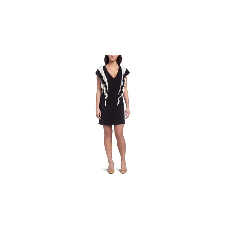 French connection Womens Summer Renoir Ruffle Dress,Black/Cream,2
