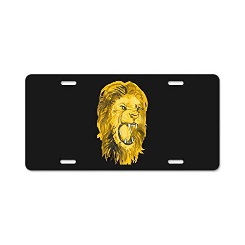 YEX Abstract Gold Lion License Plate Frame Car Licence Plate Covers Auto Tag Holder 6