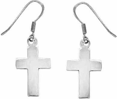 Earring - Cross - Medium w/French Hooks (SS) (Hook Earrings Cross French)