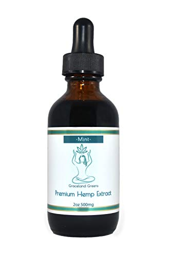 Graceland Greens Hemp Extract 2oz 500mg Mint Flavor, Aids in Pain and Anxiety Relief, Essential Fatty acids