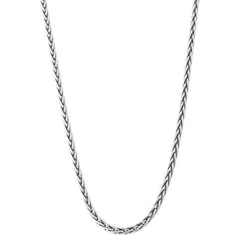 Solid Sterling Silver Rhodium Plated 1.7 Millimeters Spiga Wheat Chain Necklace, 18 Inches ()