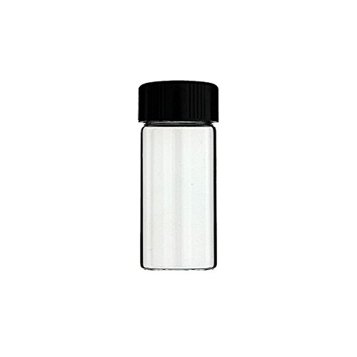 12-Pack of 3 inches, 30 mL, Clear Glass Bottles Storage Container Sample Cosmetic Herb Spice Specimen Vials with Black Phenolic Screw on Caps (Glass Sample Borosilicate Vials)