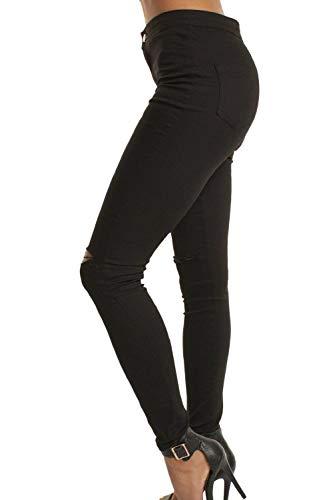 Casuales Sólido Alta Rasgados Botones Schwarz Pantalones Las Mujeres Cintura Pitillo Elásticos Color Agujeros Lápiz Vaqueros De Mezclilla w4ppOXqSv0