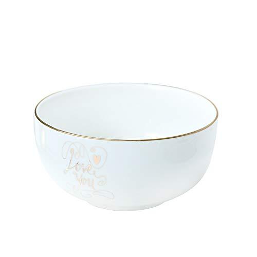 XQJDD Nordic Phnom Penh Ceramic Tableware Dinner Plate Western Steak Breakfast Set Tableware Bowl Plate Set Gold Soup Bowl 7 Inch