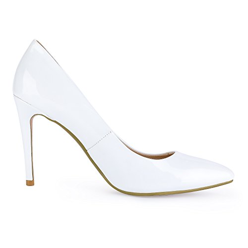 Patent Pump Pointed IN4 Toe Stiletto Women's Dress Heel IDIFU White Classic High BzPHxq