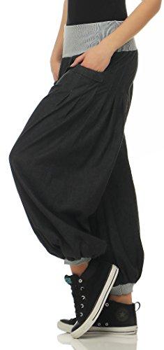 Denim Fonc Taille Aladin Pantalon en bouffant malito Pantalon Unique Gris style 6258 Femme UAx7wBd
