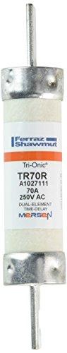 Mersen TR-R Tri-Onic Time-Delay/Class RK5 Fuse, 250VAC/250VDC, 200kA AC/20kA DC, 70 Ampere, 1-1/16'' Diameter x 5-7/8'' Length by Mersen