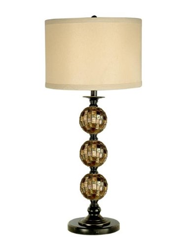 Dale Tiffany PG10353 Mosaic 3 Ball Art Glass Table Lamp, 14.0