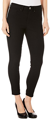Royalty by YMI Womens Solid Hyper-Stretch Ankle Jeans 14 Black