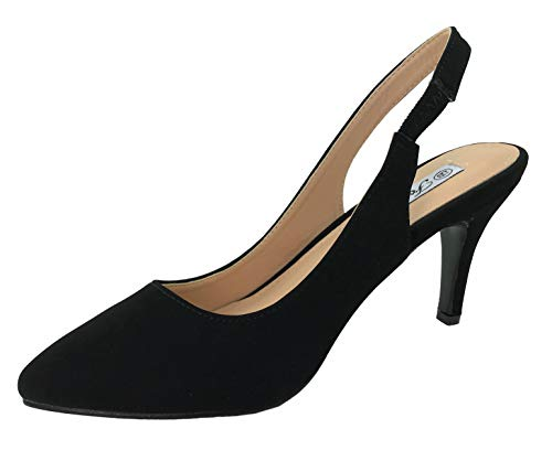 Forever Collection Womens Sling Back Pumps Mid to Low Heel Slip On Shoes, Black Nub, 7.5