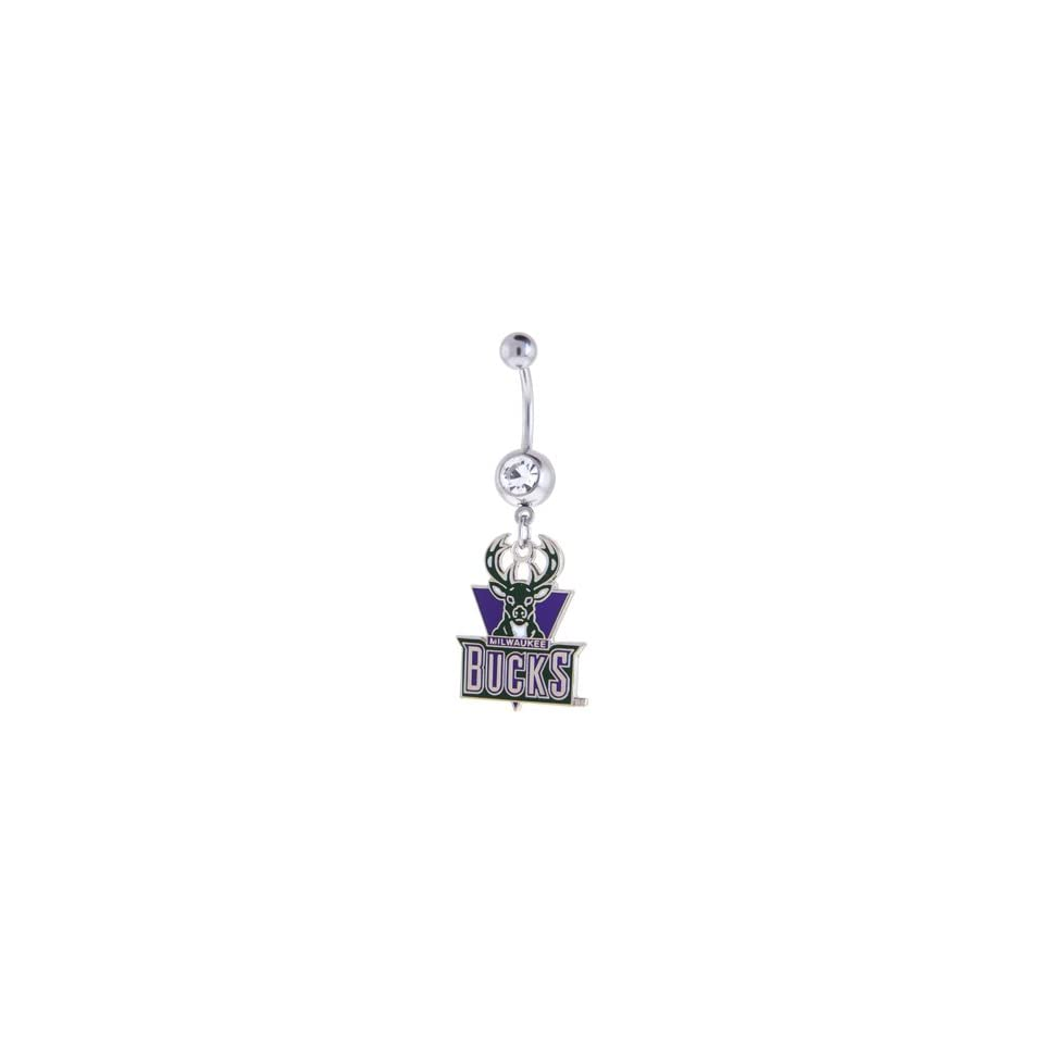 NBA Milwaukee Bucks Crystalline Gem Belly Ring Jewelry