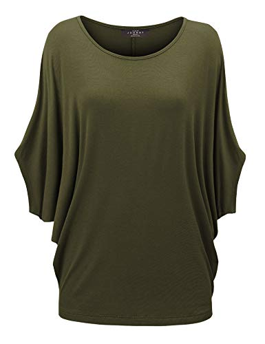 WT1073 Womens Scoop Neck Half Sleeve Batwing Dolman Top XXL Olive