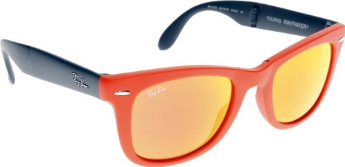 Ray Ban RB4105 Fold Wayfarer Sunglasses-6019/69 Orange (Orange Mirror Lens)-54mm]()