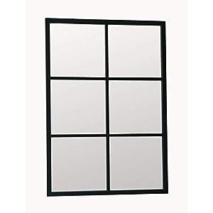 Delamaison Miroir fenêtre rectangulaire Noir en métal brossé 6 Carreaux 70x100cm Teke