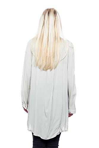 Abbino Natalia 50550 Blusas Tops para Mujer - Hecho en ITALIA - 5 Colores - Entretiempo Primavera Verano Otoño Mujeres Femeninas Camisas Manga Larga Vintage Oficina Fiesta Fashion Rebajas Beige