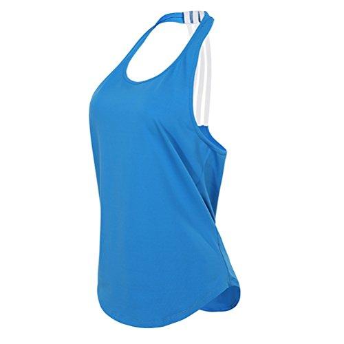 Scoop Fitness 1 Sg Azul La Redondo color Básico Tamaño Sport Yoga Mujer Chaleco Tanque Grande Negro Talla De Del CqHqB