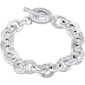 Argent Sterling fini martelé Bracelet avec Fermoir Toggle-JewelryWeb 7,5 cm