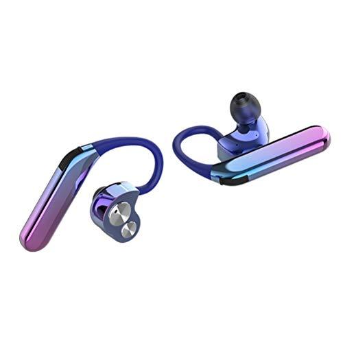 Healifty Wireless Bluetooth X6 V5.0 Headphones In-Ear Headphones Wireless Bluetooth Hanging Ear Sport Earphones (Aurora Color Double Earphone):