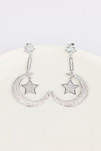 State Moon Stars Luxury Flash Diamond Earrings earings Dangler Eardrop Exaggerated Women Girls Models s925 Sweet Long Needles Creative Accessories by KGELE Earrings