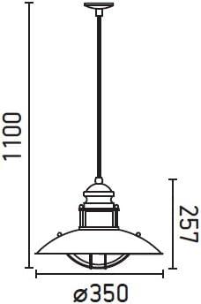Faro Barcelona Winch 66204/Suspension 60/W m/étal et diffuseur en verre Marron