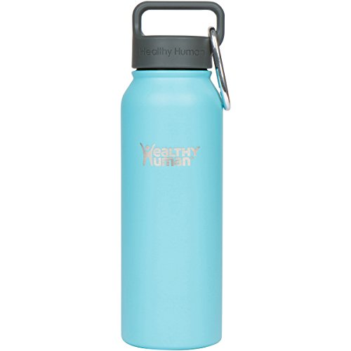 Healthy Human Water Bottles Cold 24 Hours Hot 12 Hours. Vacuum Insulated Stainless Steel Double Walled Thermos Stein Flask with Carabiner & Hydro Guide