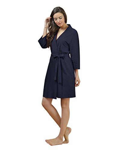 SIORO Kimono Robe Plus Size Soft Lightweight Robes Cotton Nightshirts V-neck Sexy Nightwear Dress Knit Bathrobe Loungewear Short for Women Navy XL