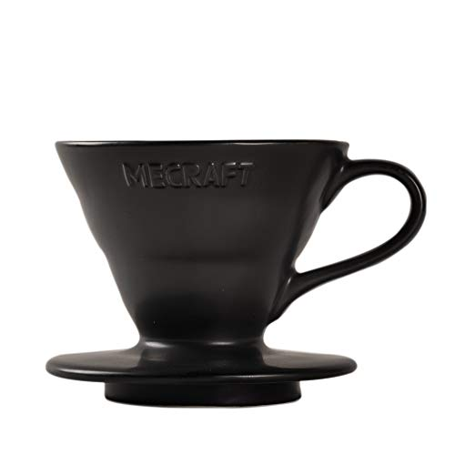 Mecraft Ceramic Pour Over Coffee Dripper Coffee Maker for 1-2 Cups Single Brew Serve Cone Shape Giftbox Size 01(matte black)